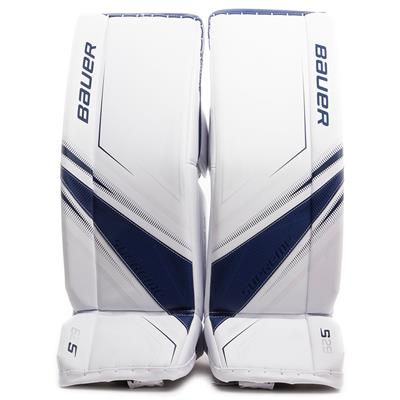 White/Blue (Bauer Supreme S29 Goalie Leg Pads - Intermediate)