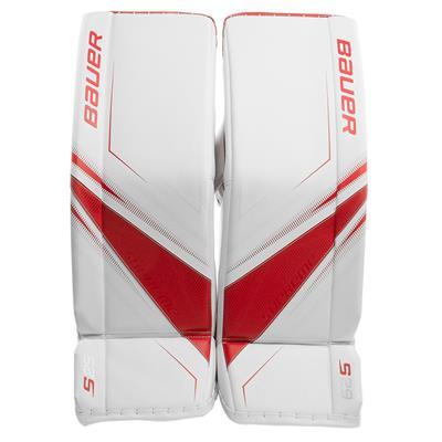 White/Red (Bauer Supreme S29 Goalie Leg Pads - Intermediate)