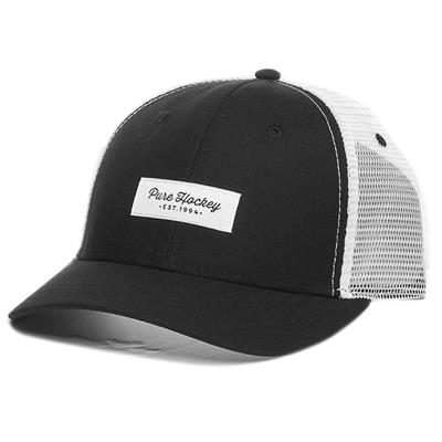 (Pure Hockey Mesh Back Script Hat Black - Adult)