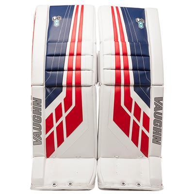 White/Blue/Red (Vaughn Velocity VE8 XFP Goalie Leg Pads - Senior)