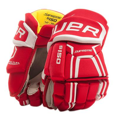 Red (Bauer Supreme S150 Hockey Gloves - 2017 - Senior)