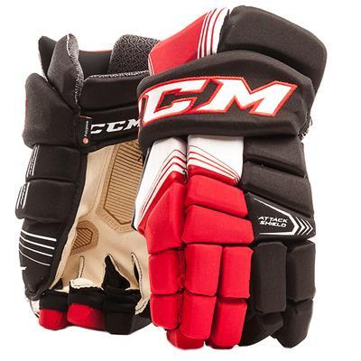 Black/Red/White (CCM Super Tacks Hockey Gloves - Senior)