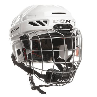 White (CCM Fitlite 3DS Youth Hockey Helmet Combo)