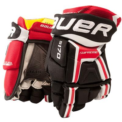 Black/Red (Bauer Supreme S170 Hockey Gloves - 2017 - Junior)