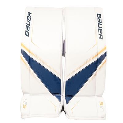 White/Blue/Gold (Bauer Supreme S27 Goalie Leg Pads - Junior)