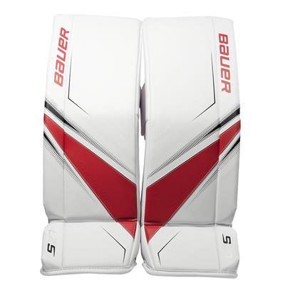 White/Red/Black (Bauer Supreme S27 Goalie Leg Pads - Junior)