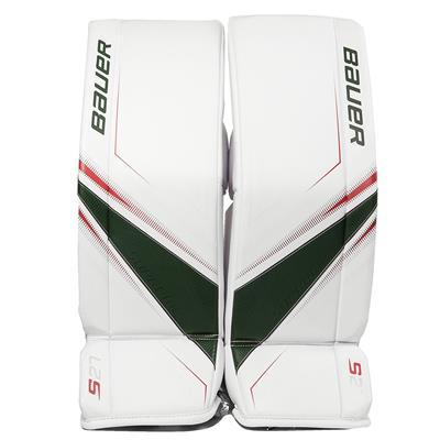 White/Red/Green (Bauer Supreme S27 Goalie Leg Pads - Junior)