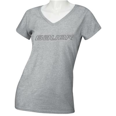 Heather Grey (Bauer Core Short Sleeve V-Neck Graphic Tee Shirt - Womens)
