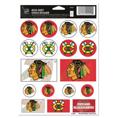 NHL Sticker Sheet 5x7 Blackhawks (Wincraft Vinyl Sticker Sheet - Chicago Blackhawks)