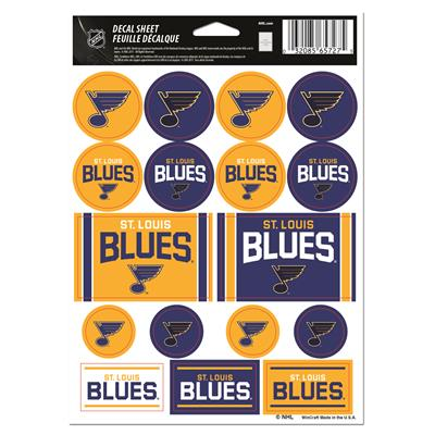 NHL Sticker Sheet 5x7 Blues (Wincraft Vinyl Sticker Sheet - St. Louis Blues)