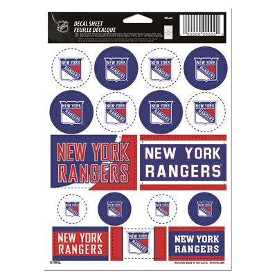 NHL Sticker Sheet 5x7 Rangers (Wincraft NHL Wincraft Vinyl Sticker Sheet - New York Rangers)
