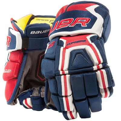 Blue/Red/White (Bauer Supreme 1S Hockey Gloves - 2017 - Senior)