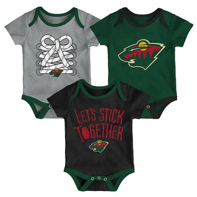 (Adidas Minnesota Wild Five on Three Baby Onesie 3-Pack - Infant)