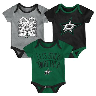 (Adidas Dallas Stars Five on Three Baby Onesie 3-Pack - Infant)
