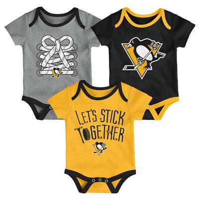 (Adidas Pittsburgh Penguins Five on Three Baby Onesie 3-Pack - Infant)