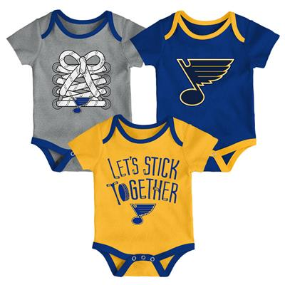(Adidas St. Louis Blues Five on Three Baby Onesie 3-Pack - Infant)