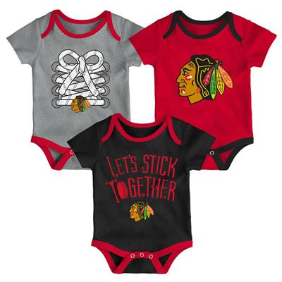 (Adidas Chicago Blackhawks Five on Three Baby Onesie 3-Pack - Infant)