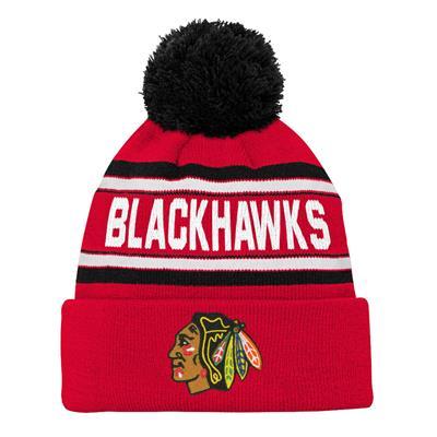 Front (Adidas Chicago Blackhawks Youth Pom Knit Hat)