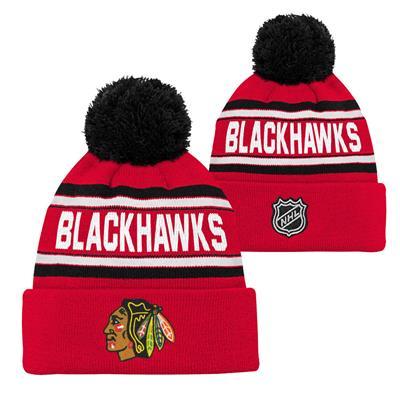 Chicago Blackhawks (Adidas Chicago Blackhawks Youth Pom Knit Hat)
