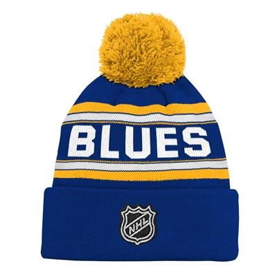 Back (Adidas St. Louis Blues Youth Pom Knit Hat)