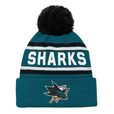 Front (Adidas San Jose Sharks Youth Pom Knit Hat)