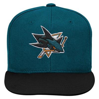 Front (Adidas San Jose Sharks Two Tone Youth Flat Brim Snapback Cap)
