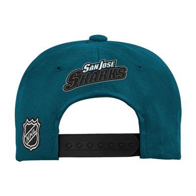 Back (Adidas San Jose Sharks Two Tone Youth Flat Brim Snapback Cap)