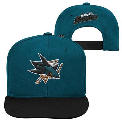 San Jose Sharks (Adidas San Jose Sharks Two Tone Youth Flat Brim Snapback Cap)