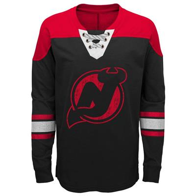 Front (Adidas New Jersey Devils Perennial Long Sleeve Tee Shirt - Youth)