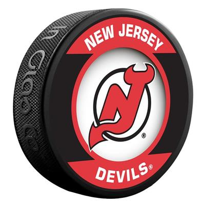(InGlasco NHL Retro Hockey Puck - New Jersey Devils)