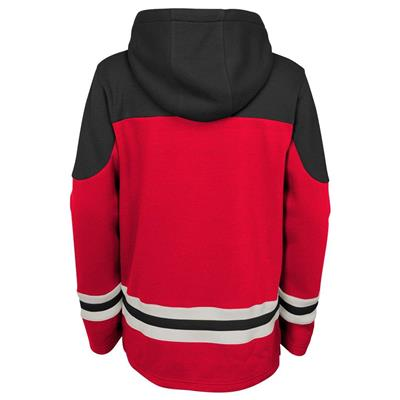 Back (Adidas Detroit Red Wings Asset Pullover Hoodie - Youth)