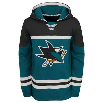 Front (Adidas San Jose Sharks Asset Pullover Hoodie - Youth)
