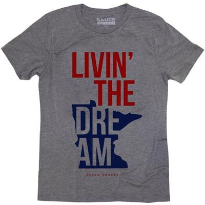 (Sauce Hockey Minnesota Livin The Dream Tee Shirt - Adult)