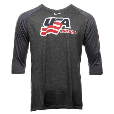 (Nike USA Hockey 3/4 Men's Raglan Tee Shirt - Adult)