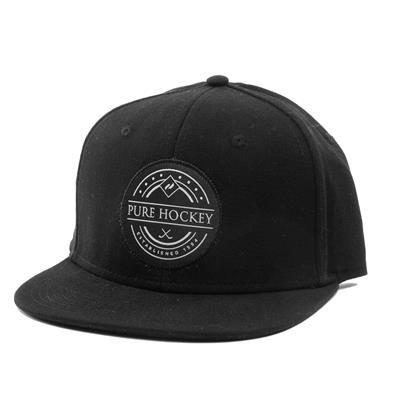 Front (Pure Hockey Black Flat Brim Snapback Hat - Adult)