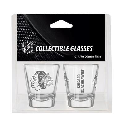 Chicago Blackhawks (2oz NHL Shot Glass 2-Pack - Chicago Blackhawks)