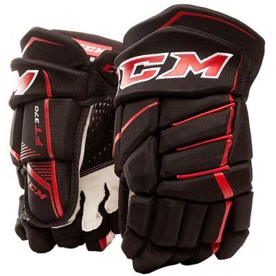 Black/Red (CCM JetSpeed FT370 Hockey Gloves - Junior)