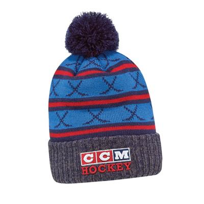 Navy (CCM 3 Block Pom Knit Hat - Adult)
