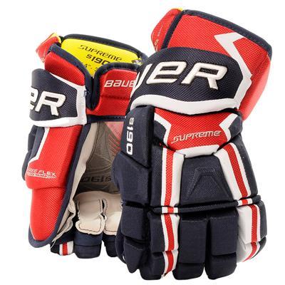 Navy/Red/White (Bauer Supreme S190 Hockey Gloves - 2017 - Junior)