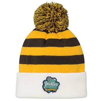 Back (Adidas Boston Bruins 2019 Winter Classic Pom Knit Hat - Youth)