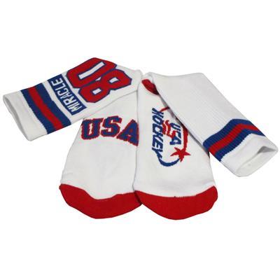 (USA Hockey Miracle Crew Socks White - Adult)