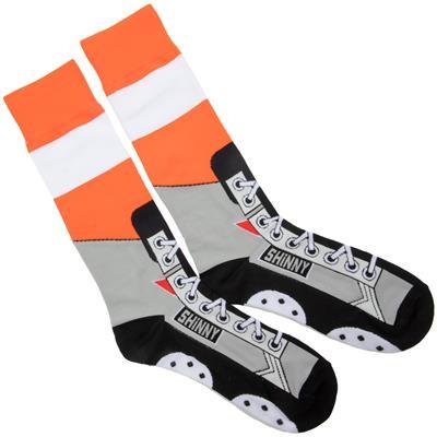 (Toe Drag Apparel Philadelphia Orange Shinny Skins Socks - Adult)