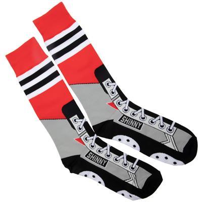 (Toe Drag Apparel Chicago Red Shinny Skins Socks - Adult)