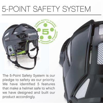 5 Point Safety System Enhances Protection (Reebok 11K Hockey Helmet)