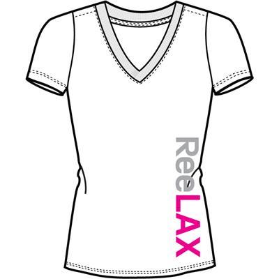 White (Reebok ReeLAX V-Neck Tee Shirt - Womens)