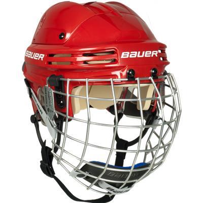 Red (Bauer 4500 Hockey Helmet Combo)