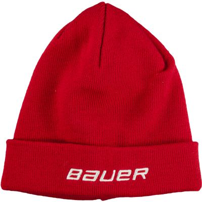 Red (Bauer Cuffed Rib Knit Toque Winter Hat)