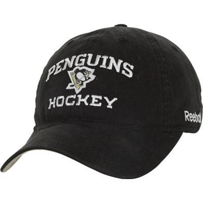 Penguins Hockey On Front Of Hat (Reebok Pittsburgh Penguins Locker Room  Slouch Adjustable Hat) 751b8f14203