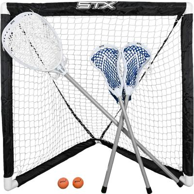 Includes: 2 Player, 1 Goalie, Goal, & 2 Balls (STX Mini Lacrosse Set - 3 Sticks)