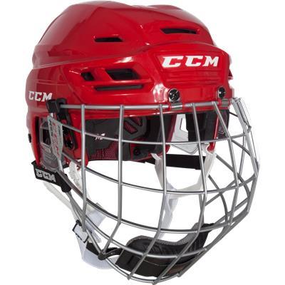 Red (CCM Resistance 300 Hockey Helmet Combo)